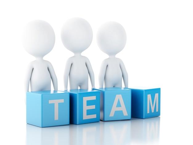 Gente di affari bianca 3d. concetto di squadra