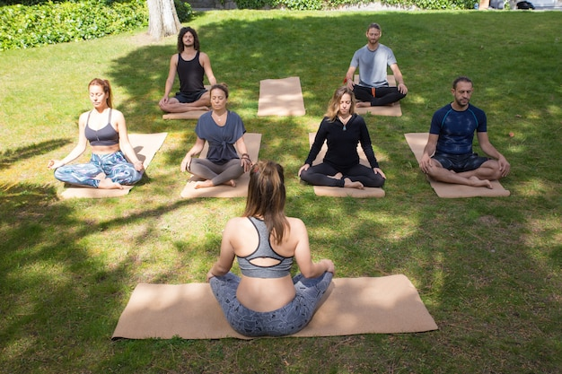 Gente pacifica serena che medita nel parco