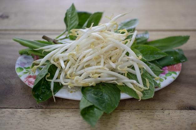Germogli di fagioli come contorno di thai noodle.