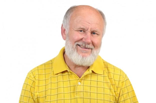 Gesti dell'uomo anziano calvo