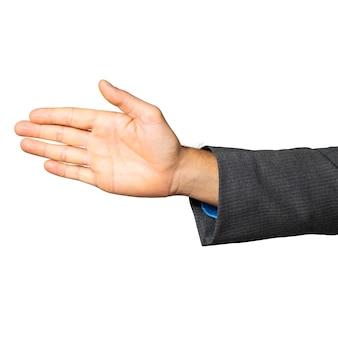 Gesto della mano del maschio isolato su sfondo bianco