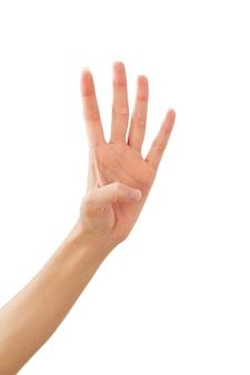 Gesto della mano della giovane signora: quattro su bianco
