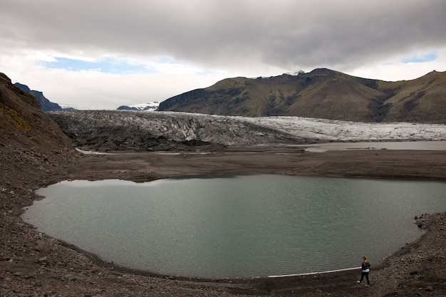 Ghiacciaio e lago glaciale circondato da montagne in giornata nuvolosa