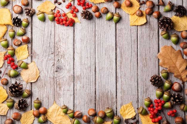 Ghiande, foglia gialla, noci e semi su fondo di legno misero, spazio della copia