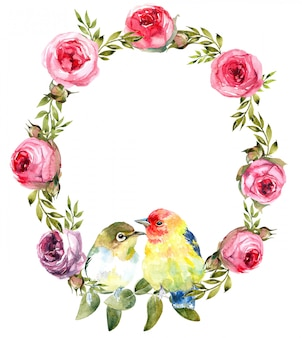 Ghirlanda con elementi dipinti a mano ad acquerello per il tuo design con rose.