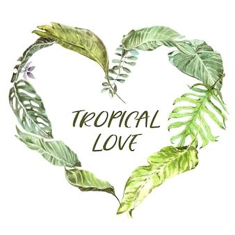 Ghirlanda dell'acquerello di foglie tropicali. foglie di palma verdi fresche. a forma di cuore su sfondo trasparente. san valentino
