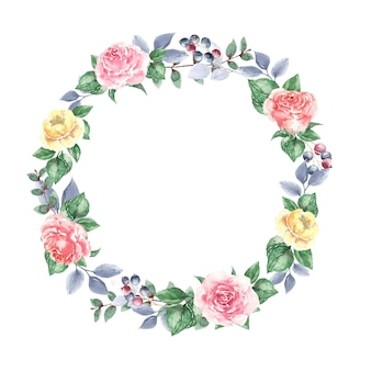 Ghirlanda di rose gialle e foglie per inviti di nozze