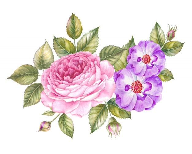 Ghirlanda di rose rosse dell'acquerello per modello di carta di invito su bianco.