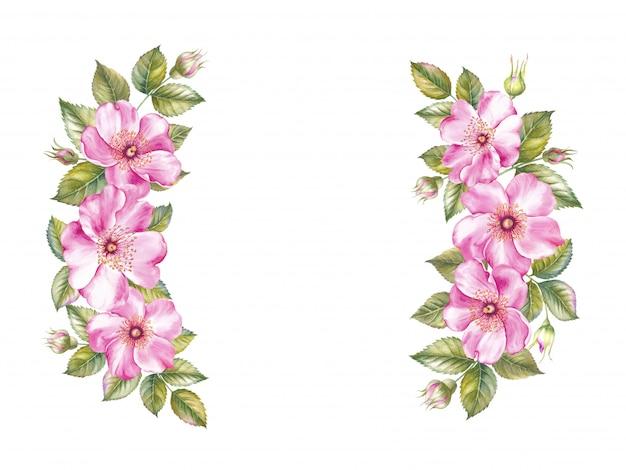 Ghirlanda vintage con cornice di rose in fiore