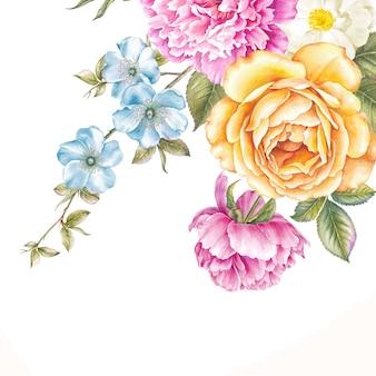 Ghirlanda vintage di fiori che sbocciano.