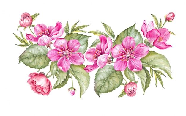 Ghirlanda vintage di fioritura sakura.