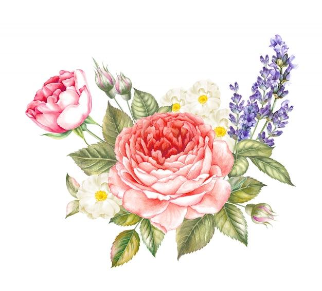 Ghirlanda vintage di rose rosse in fiore e lavanda.