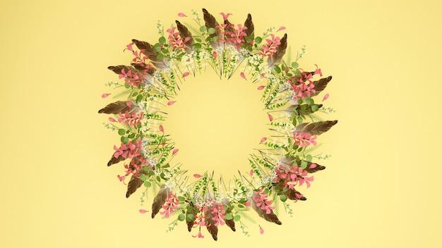 Ghirlande di fiori rosa piuma marrone. ghirlande di fiori e spazio per aggiungere un messaggio.