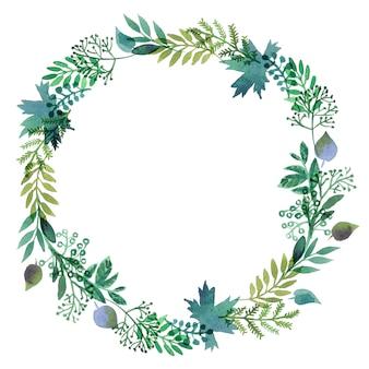 Ghirlande fatte di foglie di acquerelli.