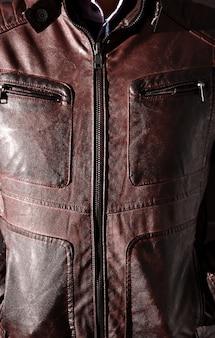 Giacca moderna in pelle rossa per uomo
