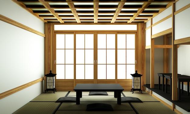 Giappone soggiorno moderno con tavolo basso nero, lampada, vaso e decoro in stile giapponese.