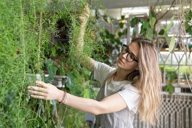 Giardiniere gioiosa giovane donna in abito pegno toccando lussureggiante pianta d'appartamento felce asparagi. il verde a casa. amore per le piante. giardino interno accogliente.