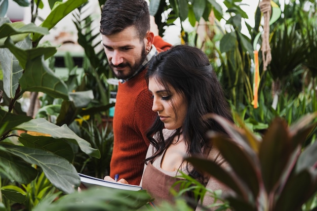 Giardinieri che eseguono conteggi