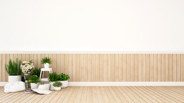 Giardino in casa o caffetteria - rappresentazione 3d
