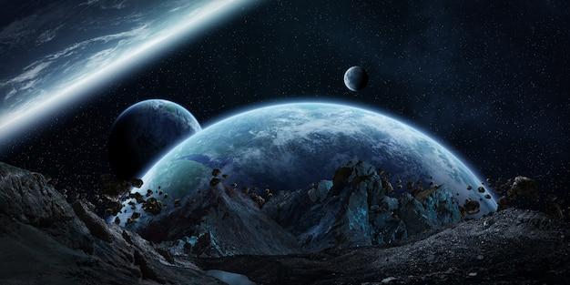 Giganteschi asteroidi che stanno per bloccare il rendering 3d
