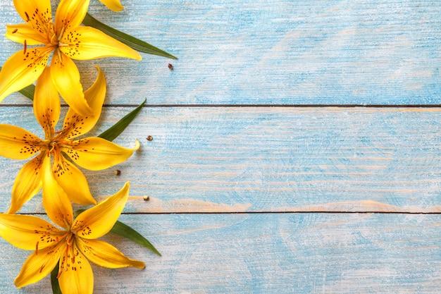 Gigli di grandi fiori gialli su sfondo blu squallido vecchio con spazio di copia, cartolina d'auguri floreale, piatto laici,