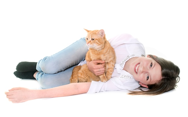 Ginger cat and teenager