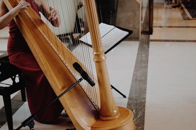 Giocatore dell'arpista della donna che porta vestito rosso che gioca l'arpa