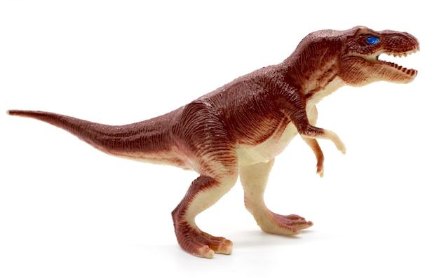 Giocattolo del dinosauro di tirannosauro su fondo bianco