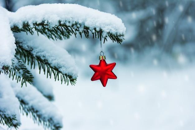 Giocattolo rosso dell'albero di natale a forma di stella su un ramo innevato dell'albero di natale e fiocchi di neve che cadono in una fredda giornata invernale