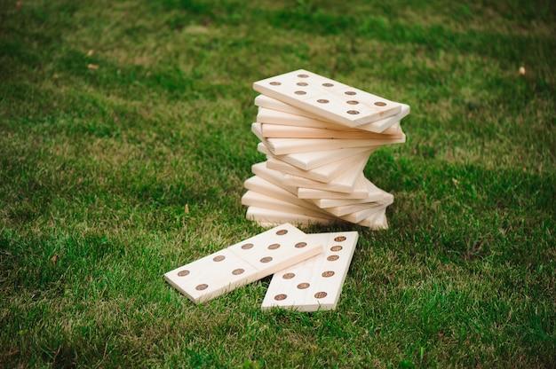 Giochi all'aperto, domino, gioco all'aperto gigante sull'erba verde