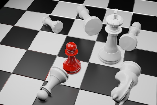 Gioco da tavolo di scacchi, concetto competitivo di affari