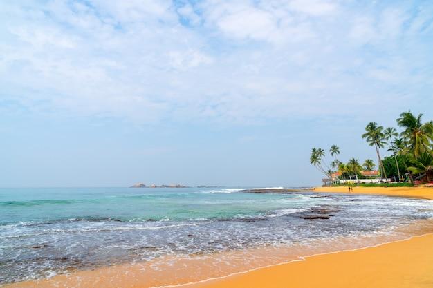 Giornata di sole, sabbia gialla, palme e onde di schiuma.
