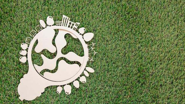 Giornata mondiale dell'ambiente oggetto in legno con copia spazio