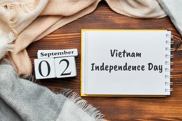 Giorno di indipendenza del vietnam del calendario del mese di autunno settembre