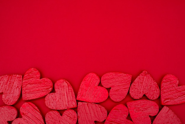 Giorno di san valentino cartolina cuori rossi.