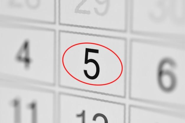 Giorno di scadenza del calendario del pianificatore della settimana su libro bianco 5