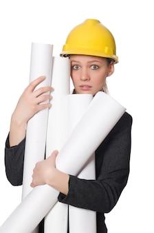 Giovane architetto isolato su bianco