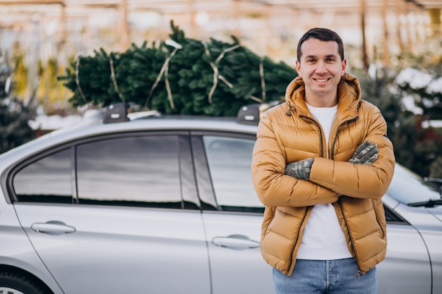 Giovane che consegna l'albero di natale sull'automobile
