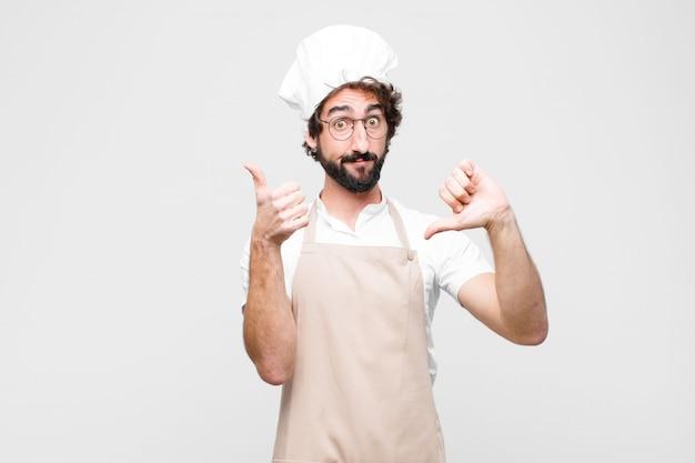 Giovane chef che si sente incapace e insicuro