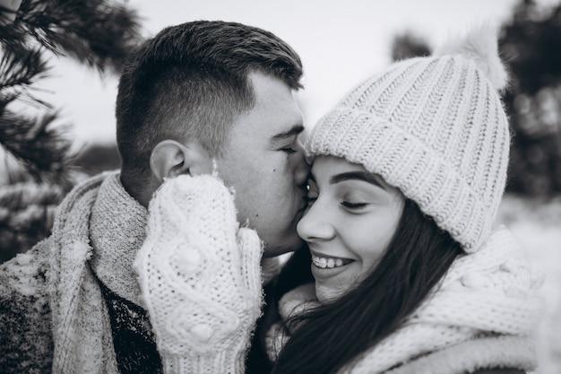 Giovane coppia in winter park