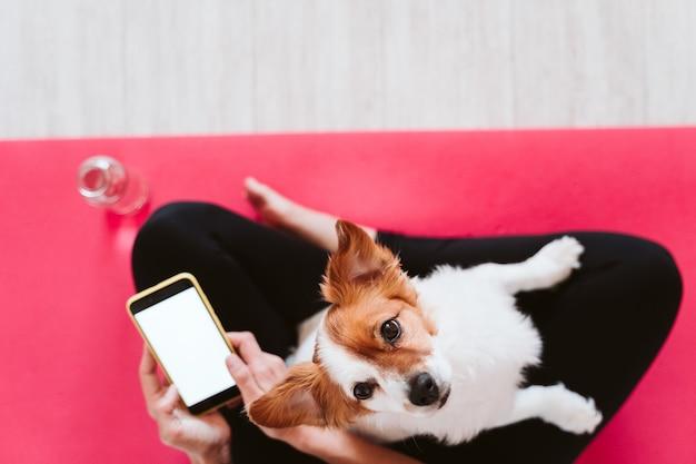 Giovane donna a casa rilassata usando la casa mobile. seduto su una stuoia di yoga con il suo simpatico cagnolino. tecnologia e
