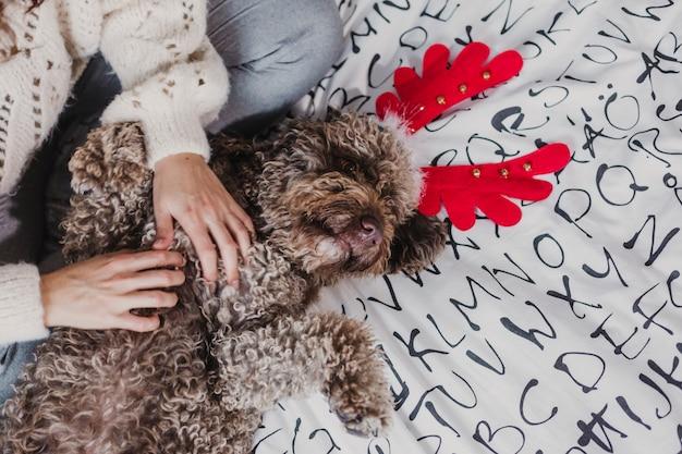 Giovane donna a casa. seduto sul letto con il suo cane che indossa corna di renna divertenti. in casa