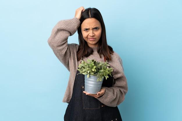 Giovane donna castana della corsa mista che tiene una pianta sopra la parete blu con un'espressione di frustrazione e di non comprensione.