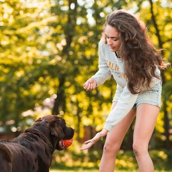 Giovane donna che cattura palla dalla bocca del cane