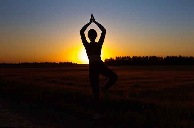 Giovane donna che fa yoga al tramonto in estate