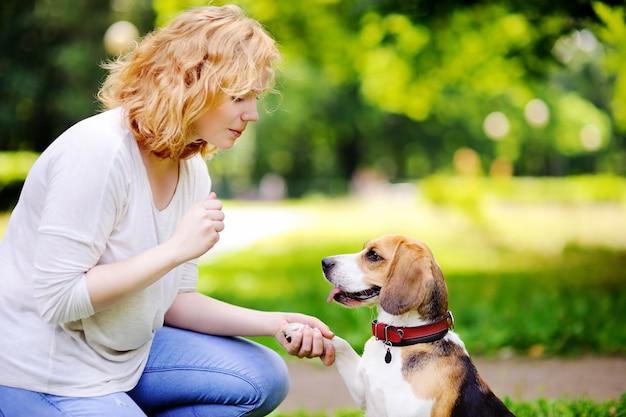 Giovane donna con cane beagle nel parco estivo. animale domestico ubbidiente con il suo padrone che pratica il comando della zampa