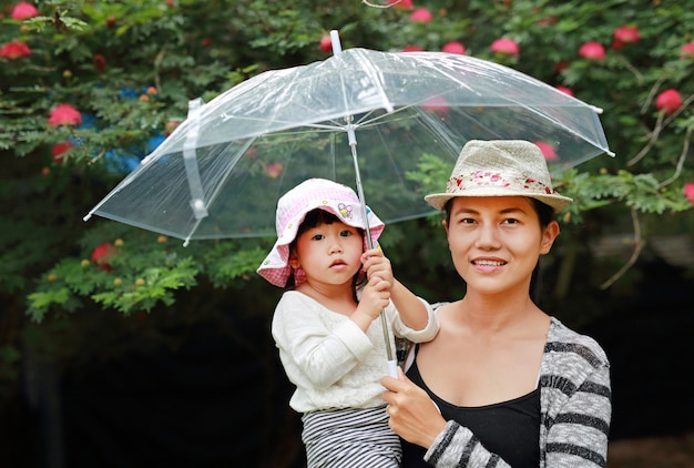 Giovane donna con graziosa piccola figlia nel parco sotto l'ombrello. famiglia all'aperto sotto la pioggia.
