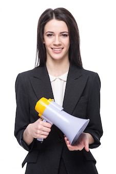 Giovane donna con megafono