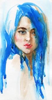 Giovane donna di bellezza dell'acquerello con capelli blu lunghi. ritratto verticale disegnato a mano illustrazione di moda di pittura isolata