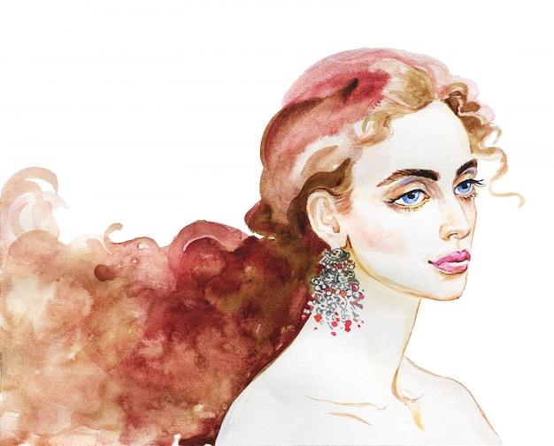 Giovane donna di bellezza dell'acquerello. ritratto disegnato a mano della ragazza. illustrazione di moda di pittura isolata